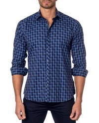 Jared Lang Graphic Print Sport Shirt Blue