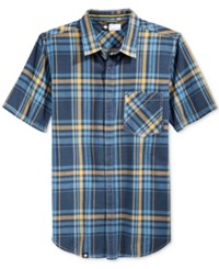 Lrg Men's Short Sleeve Big Cat Plaid Shirt Navy