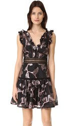 Rebecca Taylor Sleeveless Metallic V Neck Dress Black Camellia