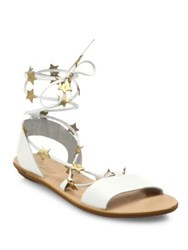 Loeffler Randall Starla Star Detail Leather Lace Up Sandals White Gold