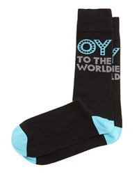 Jonathan Adler Oy To The World Printed Socks Black