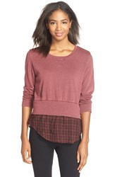 Women's Monrow Double Layer Sweatshirt Maroon