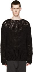 Johnlawrencesullivan Black Open Knit Sweater