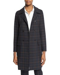 Theory Abla Tile Check Double Breasted Coat Dark Navy Multi