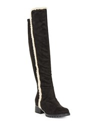 Karl Lagerfeld Baron 2 Sherpa Trimmed Faux Suede Boots Black