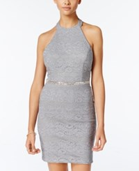 City Studios Juniors' Embellished Bodycon Dress Silver