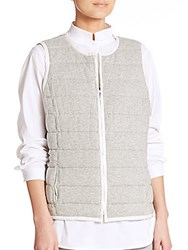 Lafayette 148 New York Jonah Reversible Quilted Vest White Grey