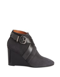 Aquatalia By Marvin K Tillie Suede And Leather Wedge Booties Grey