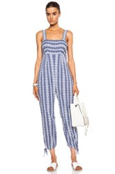Band Of Outsiders Stripe Cotton Eyelet Jumpsuit With Ankle Ties In Blue Floral Blue Floral