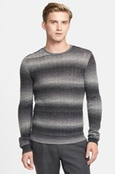 Star Usa By John Varvatos Cable Knit Crewneck Sweater Metallic