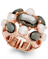 Inc International Concepts Rose Gold Tone Faceted Stone Stretch Cocktail Ring