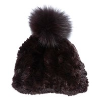 Glamourpuss Nyc Pom Pom Hat Chocolate