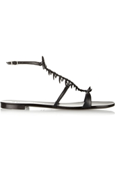 Giuseppe Zanotti Fish Embellished Leather Sandals Black