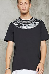 Forever 21 Chain Necklace Camo Print Tee Black White