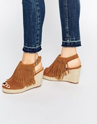 Miss Kg Peyton Tan Espadrille Wedge Heeled Sandals Tan