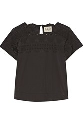 Sea Broderie Anglaise Cotton Blend Top Black