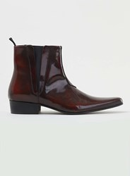 Topman Burgundy Leather Hi Shine Pointed Zip Boots Red