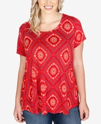Lucky Brand Trendy Plus Size Bandana Print T Shirt Red Multi