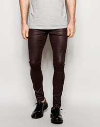 Asos Extreme Super Skinny Jeans In Heavy Coated Burgundy Red