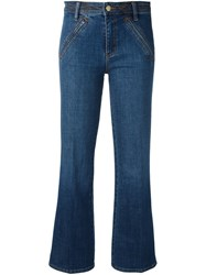 Tory Burch Cropped Flare Jeans Blue