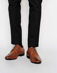 New Look Brogue Shoes In Faux Leather Mocha