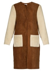Ines And Marechal Astorg Shaved Shearling Coat Brown Multi