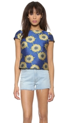 Alice Olivia Jorgie Boxy Cap Sleeve Top Sunflower