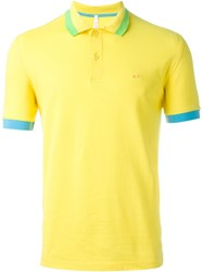 Sun 68 Wide Collar And Sleeve Detail 'Righe Fluo' Polo Shirt Yellow And Orange