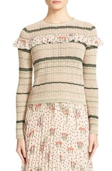 Red Valentino Women's Ruffle Crochet Cotton Sweater