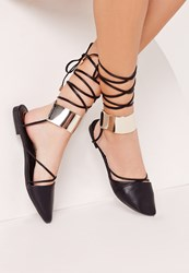 Missguided Lace Up Gold Cuff D'orsay Ballerina Black Black
