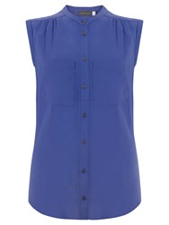 Mint Velvet Sleeveless Pocket Shirt Azure Blue