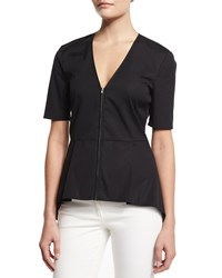 Veronica Beard Meyers Silk Zip Front Peplum Top Black Women's