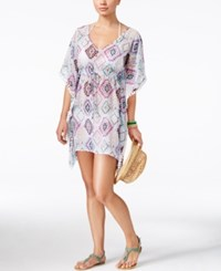 Miken Tribal Print Fringe Cover Up Women's Swimsuit Pink Lavender