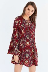 Moon River Floral Lace Up Bell Sleeve Mini Dress Red Multi