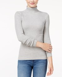 Planet Gold Juniors' Fine Gauge Turtleneck Sweater Medium Heather Grey