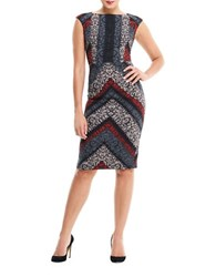 Maggy London Printed Bodycon Dress Black Rust