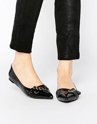Park Lane Buckle Strap Point Flat Shoes Black Patent