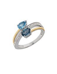 Lord And Taylor Blue Topaz Diamond Sterling Silver And 14K Yellow Gold Swirl Ring