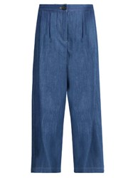Adam By Adam Lippes Pleated Front Wide Leg Cropped Jeans Denim