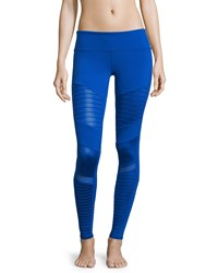 Alo Yoga High Waist Moto Sport Leggings With Mesh Panels Blue Deep Electric Blu