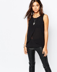 Sisley Wrap Front Tank Top Black