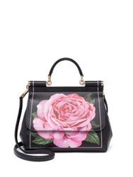 Dolce And Gabbana Miss Sicily Medium Floral Leather Top Handle Satchel Black Rose