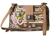 Sakroots Artist Circle Smartphone Crossbody Slate Songbird Cross Body Handbags Brown