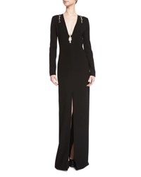 Thierry Mugler Long Sleeve Open Back Gown W Metallic Hardware Black