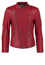 One Green Elephant Cusco Leather Jacket Vintage Red Melange