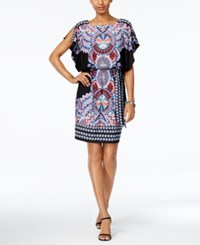 Sangria Belted Geo Print Blouson Dress Black Blue Coral Print