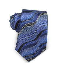 Missoni Waves Woven Twill Silk Men's Narrow Tie Blue