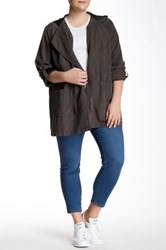 Live A Little Tie Front Anorak Plus Size Green