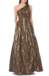 Js Collections Women's Metallic Jacquard Gown