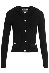 Boutique Moschino Cardigan With Faux Pearls Black